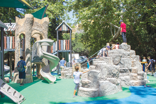 The new Fern Dell Playground includes a tree house and other play structures designed for children 2 to 12 years old. (photo courtesy of the 4th District council office)
