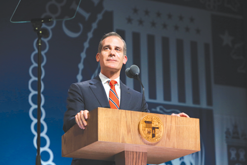 Mayor Eric Garcetti (photo courtesy of the office of Mayor Eric Garcetti)