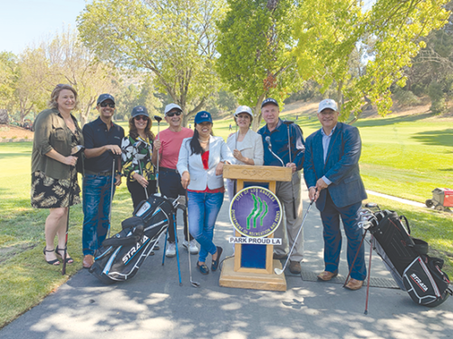 City officials were at Roosevelt Golf Course to celebrate the switch from drinking water to recycled water in the course's irrigation system. (photo courtesy of LADWP)