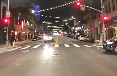 The Hollywood Property Owners Alliance plans to use lights, like these over Cahuenga Boulevard, to enhance the neighborhood. (photo courtesy of the Hollywood Property Owners Alliance)