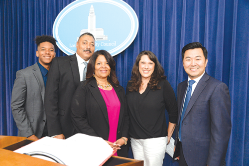 Denise Verret (center) will serve as the new director of the Los Angeles Zoo and Botanical Gardens. On June 28, Verret was joined at City Hall by son Brian Verret, husband Anthony Verret, City Clerk Shannon Hoppes and Councilman David Ryu, 4th District. (photo courtesy of the office of Councilman David Ryu, 4th District)