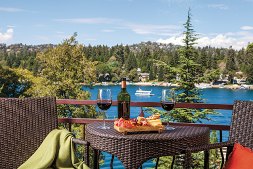The rooms at Lake Arrowhead Resort offer spectacular mountain and lakeside views, while the restaurant BIN 189 serves dine American cuisine. (photo courtesy of Lake Arrowhead Resort)