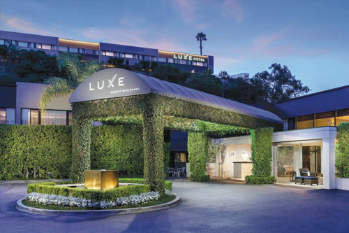 The lush, green entrance of the Luxe Hotel creates a serene environment to enjoy lunch, dinner or a weekend stay. (photo courtesy of the Luxe Hotel)