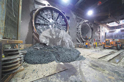 The second tunnel boring machine digging the subway tunnels under Wilshire Boulevard reached Wilshire/Western on June 27. (photo courtesy of Metro)