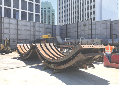 Tunnel rings are being installed through a shaft near the Wilshire/Western subway station. (photo courtesy of Metro)