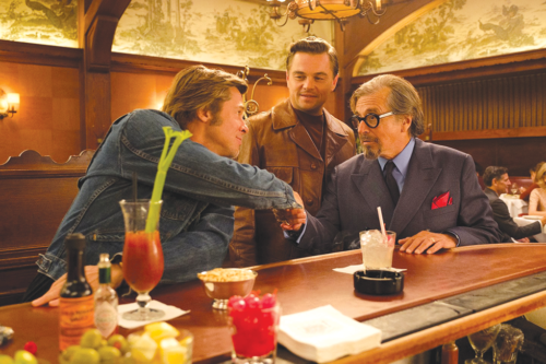 "Actors Leonardo DiCaprio, Brad Pitt and Al Pacino appear in a scene from Columbia Pictures' ""Once Upon a Time…in Hollywood"" that was filmed at Musso and Frank Grill in Hollywood. (photo by Andrew Cooper/©2019 CTMG, Inc. All Rights Reserved)"