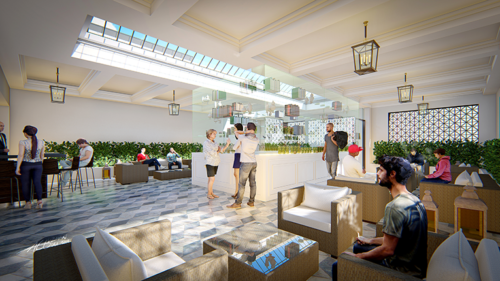 When it opens next year, the consumption lounge at PleasureMed will be located on the second floor, above a first-floor dispensary. (rendering courtesy of AEG+Architects)