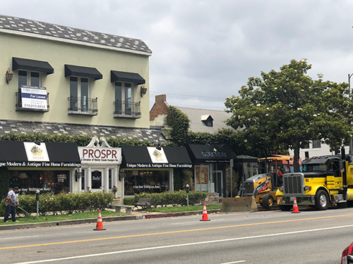 A construction project by Verizon Wireless has angered business owners in the 7400 block of Beverly Boulevard. (photo by Randy Esada)