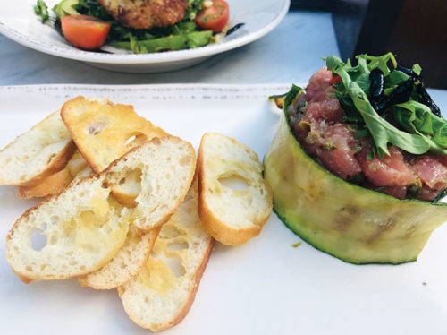 The Provençal tuna tartare is one of the prettiest dishes on the Sirocco menu. (photo by Jill Weinlein)