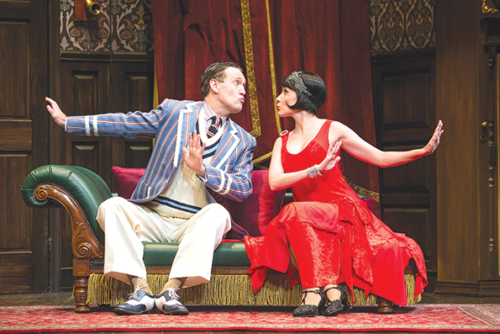 """Ned Noyes and Jamie Ann Romero star in the national tour of """"The Play That Goes Wrong,"""" which will run at the Ahmanson Theatre through Aug. 11. (photo by Jeremy Daniel)"""