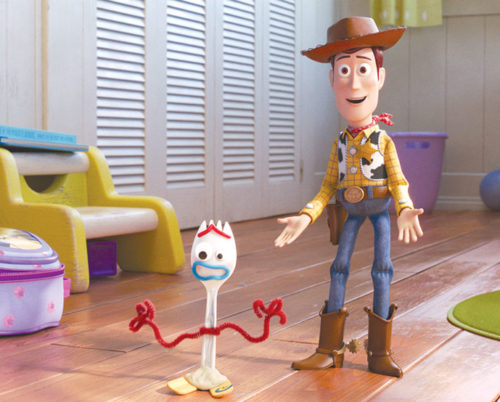"Woody (Tom Hanks) finds a new friend in Forky (Tony Hale) in the latest installment in the ""Toy Story"" franchise. (photo courtesy of Pixar)"