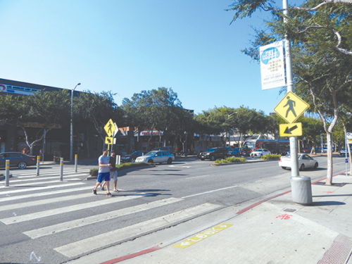 The city of West Hollywood has been upgrading crosswalks along Santa Monica Boulevard, including in the area east of San Vicente Boulevard. (photo byEdwinFolven)