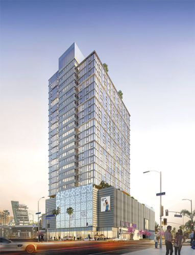 The AIDS Healthcare Foundation is seeking to stop the construction of a 26-story mixed-use building on the current site of Amoeba Music. (rendering by Johnson Fain/courtesy of GPI Companies)