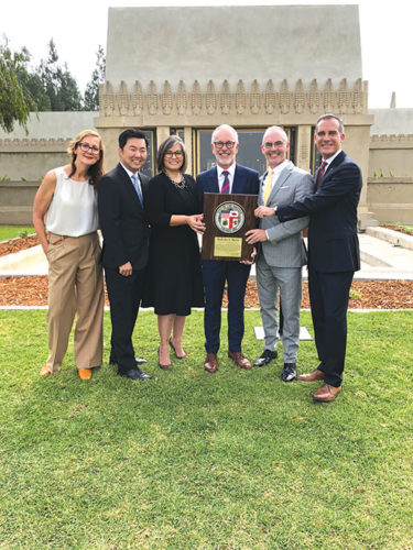 Mayor Eric Garcetti (right) joined Danielle Brazell (left), general manager of the Los Angeles Department of Cultural Affairs; Los Angeles City Council members David Ryu and Monica Rodriguez; Jeffrey Herr, curator Hollyhock House; and Los Angeles City Councilman Mitch O'Farrell at a celebration of the Hollyhock House's designation on the UNESCO World Heritage Sites List. (photo courtesy of the 13th District council office)