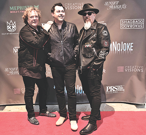 Musicians Stu Hamm, Andrew Cole and George Pajon Jr. took a stand against bullying at the #IAmNoJoke concert at the Sunset Marquis. (photo courtesy of Mephisto Footwear)