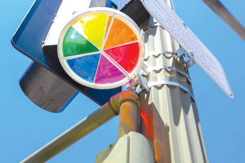 Plans call for Rainbow Halo memorials to be placed at locations throughout the city where fatal traffic collisions have occurred. (photo courtesy of LADOT)