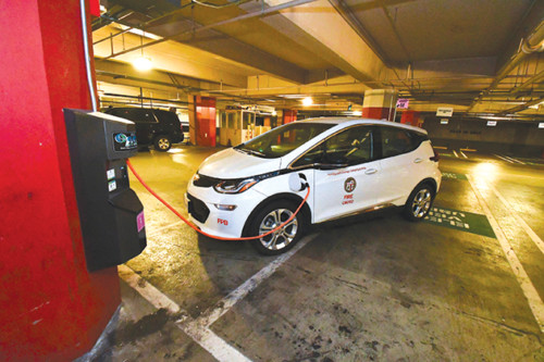 New electric vehicle chargers have been installed at Los Angeles City Hall to help the public utilize environmentally-friendly transportation technology. (photo courtesy of LADWP)