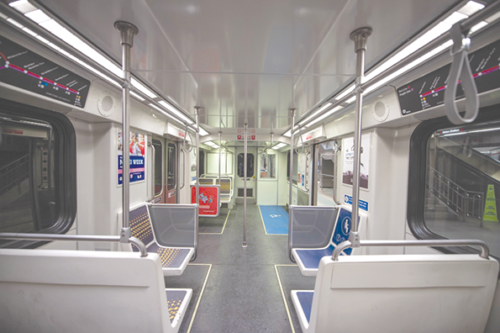 Renovations to subway rail cars include new lighting, seats and straps for passengers who are standing to hold. (photo courtesy of Metro)