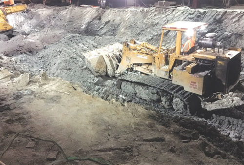 Excavation is occurring at many locations along the Purple Line Extension subway project, including at subway stations at Wilshire/La Cienega, Wilshire/Fairfax and Wilshire/La Brea. (photo courtesy of Metro)