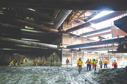 Concrete and rebar deliveries are expected to increase in September at the Wilshire/La Cienega subway station, where excavation and other work is ongoing. (photo courtesy of Metro)