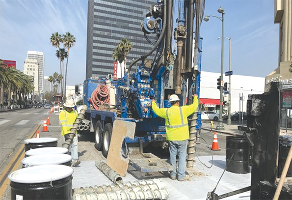 Instrumentation and investigative work is occurring at street level at many locations along the Purple Line Extension project. (photo courtesy of Metro)