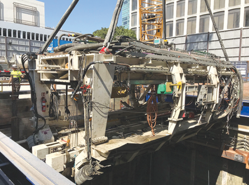 Components of two tunnel boring machines are being removed near Wilshire Boulevard and Western Avenue. The pieces will be returned into the ground at La Brea Avenue and the machines will be reassembled for the next phase of tunneling toward Beverly Hills. (photo courtesy of Metro)