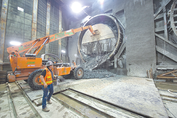 Crews at Wilshire/Western recently welcomed the tunneling machines digging the Purple Line Extension project's subway tunnels. The boring machines are currently being disassembled and returned to the Wilshire/ La Brea staging area, where they will be reassembled and will start tunneling toward Beverly Hills. (photo courtesy of Metro)