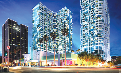 The Palladium Residences by Crescent Heights is one of the four Sunset Boulevard projects AIDS Healthcare Foundation takes issue with. (rendering courtesy of Palladium Residences)