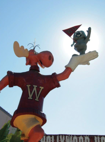 The 16-foot-tall statue of Rocky and Bullwinkle was removed from the Sunset Strip in 2013. (photo courtesy of Alison Martino/Vintage Los Angeles)