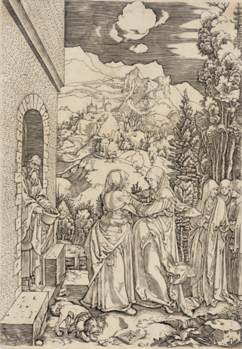 """An engraving titled """"The Visitation"""" (1505-1515) is included in the new exhibit at the J. Paul Getty Museum. (photo courtesy of the Los Angeles County Museum of Art, gift of Helen Lundeberg Feitelson, in memory of Lorser Feitelson)"""
