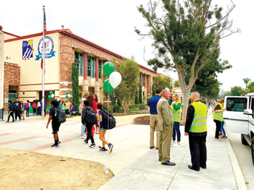 Beverly Vista Middle School students arrive on campus for the first day of school with the guidance and supervision of school and district officials. (photo courtesy of Beverly Hills Unified School District)