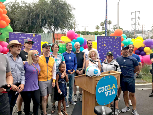 "Elected officials from across Los Angeles, West Hollywood and Beverly Hills were among the 100,000 participants of CicLAvia's ""Meet the Hollywoods"" event on Sunday. (photo courtesy of Los Angeles City Councilman Mitch O'Farrell)"