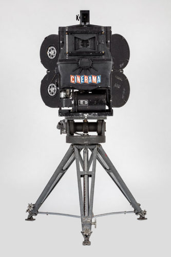 Cinerama camera with magazines, movements and tripod. Gift of Michael Forman and Cinerama, Inc.  (Photos by Joshua White, JWPictures/©A.M.P.A.S.)