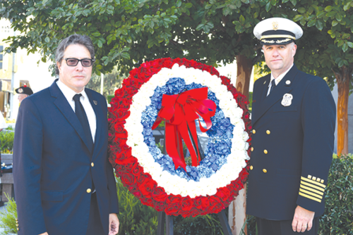 Beverly Hills Mayor John Mirisch and Beverly Hills Fire Chief Greg Barton laid a wreath at the city's 9/11 Memorial Garden. (photo by Gidas Peteris)