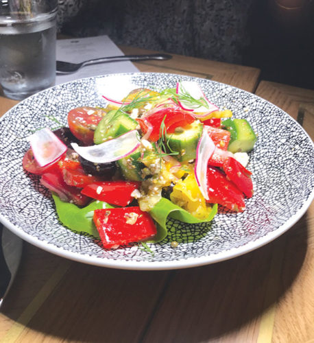 The Greek salad at CLEO is colorful and full of Mediterranean flavors. (photo by Jill Weinlein)