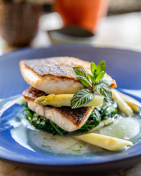 Pan roasted striped bass. (photo courtesy of Four Seasons Los Angeles)