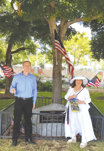 First-In Fire Foundation President Lyn MacEwen Cohen was joined by Jared Pursell, also from the foundation, at a ceremony honoring the victims of the Sept. 11, 2001, terrorist attacks. (photo by Steven Rosenthal)