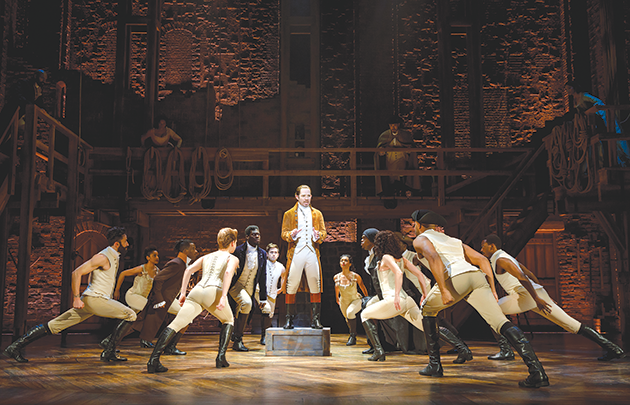 "Joseph Morales and company appear in the national touring production of ""Hamilton,"" which returns to the Hollywood Pantages Theatre from March 12 through Sept. 20, 2020. (photo by Joan Marcus)"