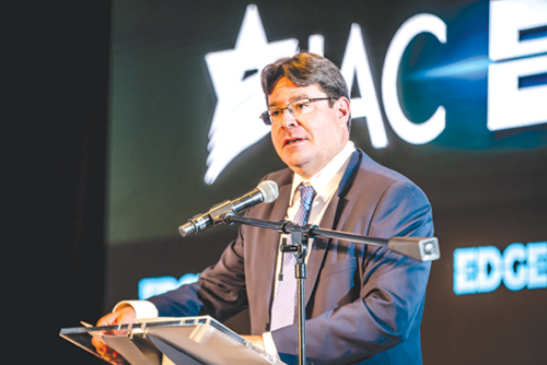 Ofir Akunis, Israel's minister of science, technology and space, addressed the crowd at IAC EDGE in Los Angeles. (photo by Linda Kasian Photography)