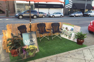 Curbside spaces are converted into gathering places during the Mid City west Community Council's annual observances of Park(ing) Day. (photo courtesy of Mid City West Community Council)