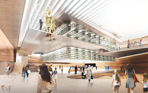 """New York-based Diller Scofidio + Renfro's proposal calls for reconstructing the museum building and maximizing the amount of greenspace surrounding it. The museum would be recreated in a central, glass-lined structure surrounded by landscaped, interconnecting geometric plates, and an expanded public plaza would be created near Wilshire Boulevard. In the surrounding park, areas would be compartmentalized following a theme of """"ecotones"""" delineating different climates. (rendering courtesy of the Natural History Museums of Los Angeles County)"""