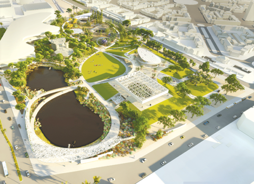 WEISS/MANFREDI, of New York, proposes a looping configuration of pathways in the park to improve visitors' access and engagement with the Tar Pits and museum. The museum building would be recreated on a plateau, and a new wing would be constructed to the northwest, expanding the amount of exhibition space available. The idea is to have buildings with partly translucent glass exteriors to further connect people inside with the surrounding park. (rendering courtesy of the Natural History Museums of Los Angeles County)