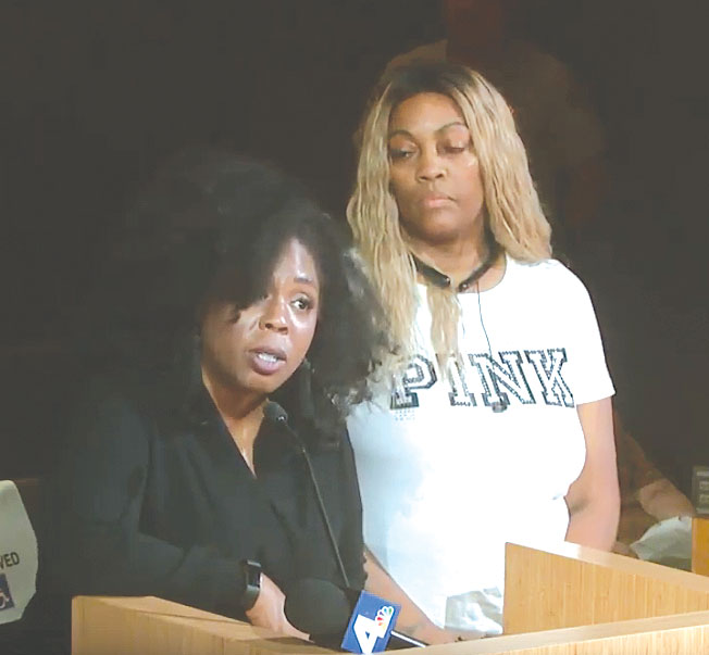 Victim's rights advocate Jasmyne Cannick (left) and LaTisha Nixon, mother of Gemmel Moore, spoke at the West Hollywood City Council meeting on Sept. 23. (photo from video courtesy of the city of West Hollywood)