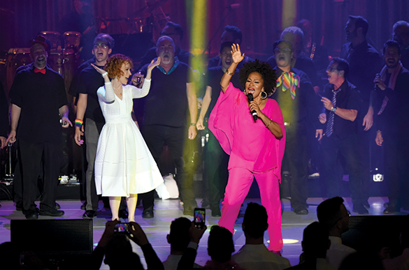 Kathy Griffin and Jenifer Lewis perform onstage during the Los Angeles LGBT Center celebration. (photo courtesy of Los Angeles LGBT Center)
