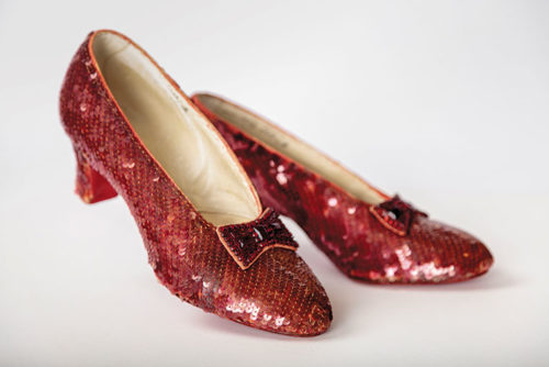 "Screen-used-close-up pair of the Ruby Slippers,  designed by Adrian, from ""The Wizard of Oz"" (1939). (Photo by Joshua White, JWPictures/©A.M.P.A.S.)"