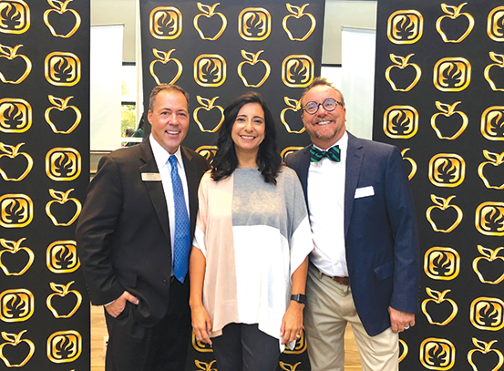 BHUSD Superintendent Michael Bregy, Beverly Vista Middle School English teacher Lauren Stuart and BVMS Principal Kevin Allen were on hand for the Sept. 20 ceremony to celebrate Stuart's award. (photo courtesy of BHUSD)