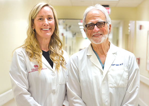 Dr. Heather McArthur and Dr. Peter J. Julien are planning studies to test cryotherapy's effectiveness in destroying breast cancer cells. (photo courtesy of Cedars-Sinai)