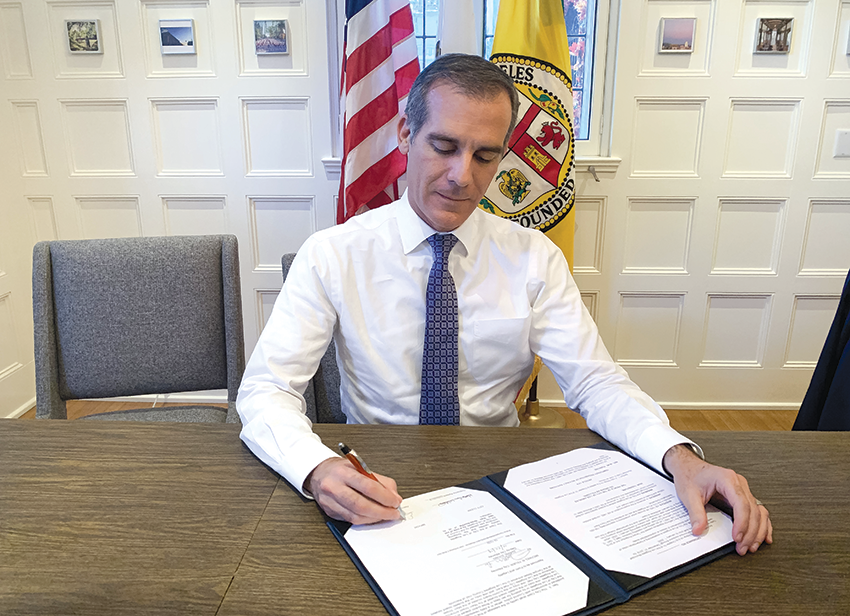 Los Angeles Mayor Eric Garcetti signed the city's temporary ban on no-cause evictions. (photo courtesy of the office of Mayor Eric Garcetti)