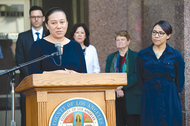 Victims of high-cost loans spoke in favor of Assembly Bill 539 at a press conference held by Los Angeles County Supervisors Hilda L. Solis, 1st District, and Sheila Kuehl, 3rd District. (photo courtesy of the L.A. County Department of Consumer and Business Affairs)