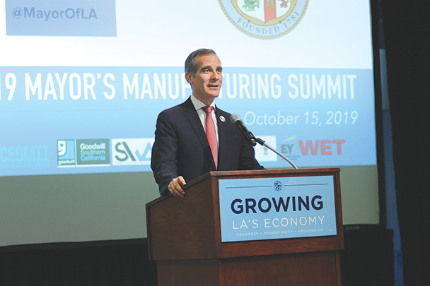 Mayor Eric Garcetti is implementing a strategy to create more manufacturing jobs in L.A-based industries. (photo courtesy of Los Angeles Mayor Eric Garcetti's Office)